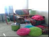 This is a very color full bed set, includes curtains,