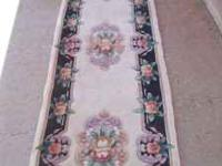 Beige and Black 11 x 3, hall rug runner. This is a