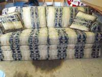 Good Condition Couch and Love Seat. Beige with navy,