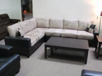 "BEIGE / ESPRESSO - ""DOUBLE SOFA"" SECTIONAL - NEW IN"