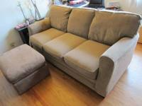 Great Microfiber couch + ottoman for sale. Smoke-free,