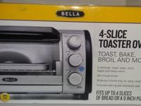 4 Slice toaster oven with 5 settings and 30 minute