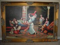 Big wall picture of belly dancers, 3 copper made plates