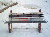 A bench made from snow skis. Call . Location: Kila
