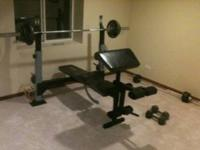 I have a bench press and weights. Pictures show what
