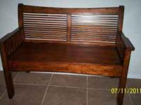 Mission style, bench with storage under seat and