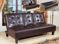 Bennett espresso futon with fall console and beverage
