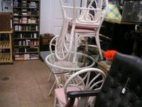 bent wood with glass top table and 4 chairs $150.00