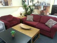 Farah Red Berry fabric Sofa and matching Chair set,