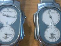 2 PHILIP STEIN DUAL TIME ZONE WATCH Ladies' stainless