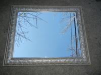 Bevel Edge Mirror with Silver Colored Frame Mirror in