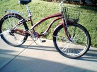 Firm hold 5 speed beach cruiser cranberry red metallic