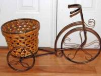 "Metal bike with basket measures 22""Lx14""Hx8""W call  //"