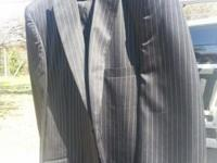 Fine mens suit black with grey pinstripe 48 LONG.