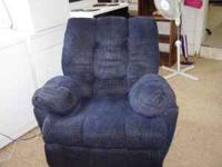 This is a big comfortable blue recliner. On sale for