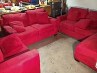 Red microfiber couch set consisting of Sofa, Love Seat,