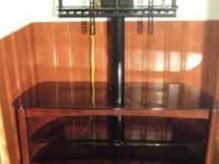 NEW CONDITION: Smoked glass and cherry wood with