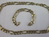 BIG SET - CHAIN 26IN AND BRACELET 9IN FIGARO - 10K