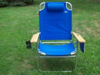 "The ""Big Jumbo"" Aluminum Beach Chair easily holds a"