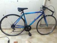 Vintage green and blue Dasani mountain bike. it has a