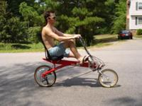Offered here is a Bike E Recumbent Bicycle. These are