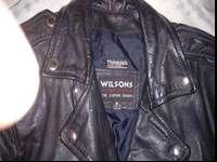 biker leather jacket size small to medium,used but in