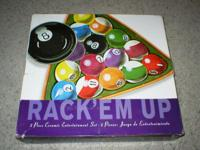 Rack' em Up Hand Painted 2 piece Ceramic Chip & Dip set