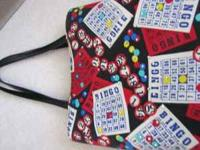 Fun, Colorful BINGO bag. Black with Bingo balls and