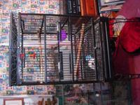 Large black parrot cage. Good size for conures, or