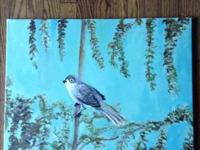 This painting depicts a yard bird with a abstract
