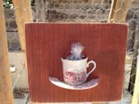 One of a kind tea cup birdfeeders made local. Great for
