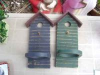 Two excellent condition birdhouse plant/candle