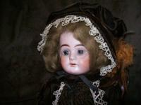 "Lovely 18"" German doll with fixed eyes, teeth, bisque"