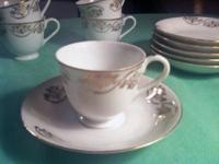 Bistro Demitasse Cup Set - 6 Cups and Saucers Fine Bone
