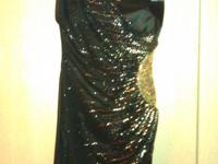 Black Mini Dress for Homecoming/Prom w. gold deco. The