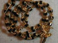 Black and Gold Rosary, Hail Mary beads are 6 mm black