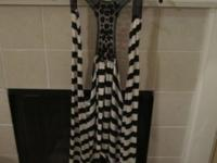 Really cute black and white striped women's cardigan