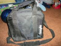 Black Angle Bowling Ball Bag Has pockets for shoes on
