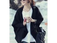 Batwing Sleeve Cape Open Front Side Pockets Knitted