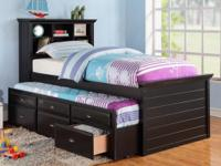 Type:Kids Rooms Black Bookcase Twin Bed with Trundle