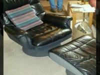 Type:Furniture Black chair with ottoman in good
