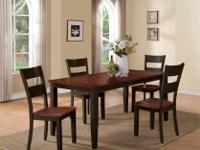 This two-tone dining group features hand laid up cross