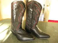 BLACK COWBOY WESTERN BOOTS-SIZE 7 1/2D-PALOMINO BRAND