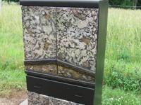 """Black Dresser Cabinet 57"""" H, 34"""" W, 16"""" D. Aged Foil"""