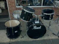 I have a black drum set with bass drum, two mounted