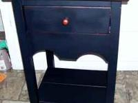 Black End table/ night Stand ....Solid wood ...dove