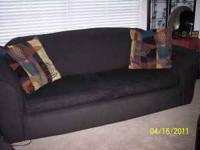 Black Fabric Sofa (8ft) and matching Loveseat (5ft)