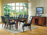 This Granite Bello dining room set comes with the