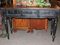 Black Habersham style sofa table or console with 3