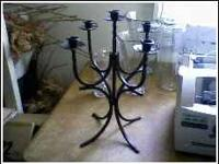 5 candle candlabera, heavy, in solid condition call Tom